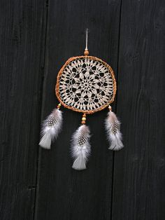 Gray linen lace Bohemian Dreamcatcher  by WildForestGallery