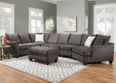 Casual Elegance. Our Casa sectional delivers contemporary style pieces upholstered in two-tone gray fabric. Toss pillows in half body fabric and half correlated fabric provide visual interest and adds a collection of color and pattern. The toss pillows are reversible which doubles the life of the fabric and allows for easy care. Welted seat and back cushions are reversible and zippered for easy maintenance. Deep seating provides plenty of seating room and comfort, while 1.8 foam density seat…