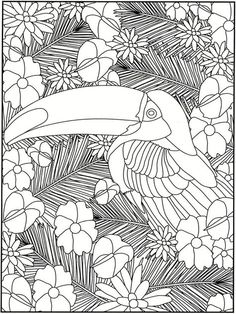 Welcome to Dover Publications / Creative Haven Garden Party Stained Glass Coloring Book / Artwork by Kelly A. and Robin J. Dover Coloring Pages, Bird Coloring Pages, Printable Adult Coloring Pages, Doodle Coloring, Mandala Coloring, Coloring Sheets, Coloring Books, Zentangle, Bird Crafts