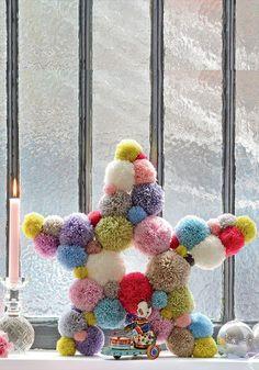 pompons 10 DIY déco : une étoile en pompons / 10 pompoms DIY - Marie Claire Idées