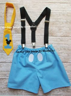 Mickey Mouse Birthday cake smash suspenders baby by GinaBellas1