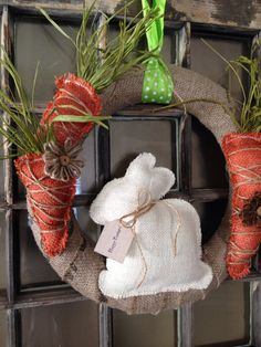 Burlap Spring Wreath with Bunny