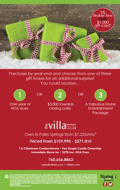 'TIS THE SEASON FOR GIVING!  Purchase By Year End at Villa Boutique in Palm Springs and Receive Additional Purchase Gift! Contact the Villa Boutique Sales Counselor for complete details.  http://www.houseofe-blast.com/BMG/villablDec172014.html