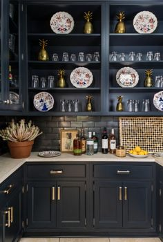 Bunny Williams navy bar in Southern Living Idea House 2015
