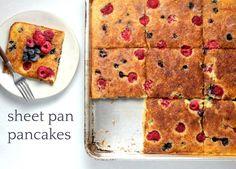 I'm just gonna say it - sheet pan pancakes > regular pancakes. How To Make Pancakes, Pancakes And Waffles, Martha Stewart Pancakes, Baking Recipes, Cookie Recipes, Four, Sheet Pan, Breakfast Recipes, Breakfast Ideas