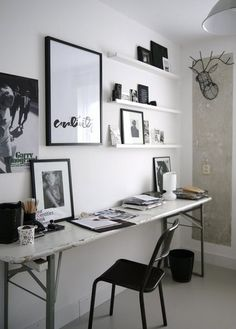 Eclectic Home Office with gorgeous floating shelves love the rustic desk