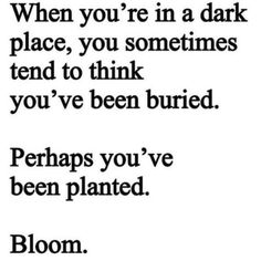Bloom where you are planted! Even when it's the hardest most impossible thing you can think of to do. Find a way!