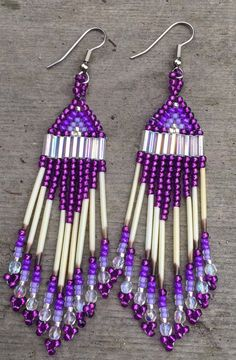 Beaded Alaska Porcupine Quill Earrings Glass beads with 18 Czech crystal beads. 18 Alaska porcupine quills and hypo allergenic hook earrings