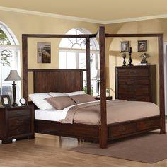 Riata Wood Canopy Storage Bed in Warm Walnut by Riverside Furniture
