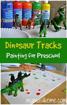 Dinosaur Track Painting for Preschool - I'll tie this into the book
