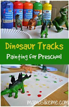 Thema dinosaurus: Dinosaur Track Painting for Preschool Dinosaur Theme Preschool, Preschool Themes, Preschool Lessons, Preschool Classroom, Preschool Learning, Classroom Activities, Preschool Crafts, Toddler Activities, Teaching