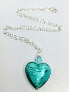 Sapphire Murano Heart Necklace Sapphire Blue by LynnsGemCreations