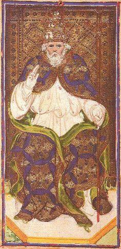 V - The Hierophant - Visconti Sforza Tarot, ca. 1450