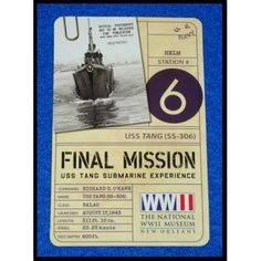 NATIONAL WORLD WAR II MUSEUM TICKET STUB SOUVENIR USS TANG SUBMARINE EXPERIENCE - $1.99