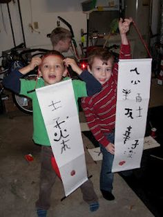 A ton of super ninja party ideas; making your own scrolls might be my favorite