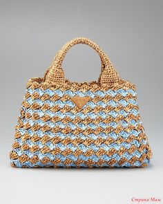 Prada bi color crocheted raffia tote so easy peasy to crochet something similar myself they re getting over a grand for this Bag Crochet, Crochet Handbags, Crochet Purses, Free Crochet, Homemade Bags, Handbag Patterns, Prada Bag, Knitted Bags, Crochet Accessories