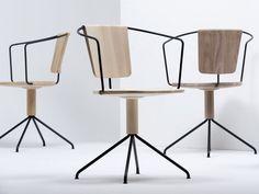Swivel chair with 4-spoke base with armrests UNCINO B - Mattiazzi