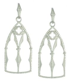 18kt Gothic Window earring with 1.47 cts diamonds