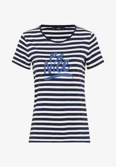 HALLHUBER MIT BÄNDCHENSTICKEREI - T-shirt imprimé - indigo - ZALANDO.CH Casual Styles, Indigo, Band, Bleu Marine, Elegant, Mens Tops, Material, Products, Design