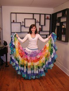 30 Gorgeous Rainbow Colored Dress DesignsIt is fashionable for girls to wear a gorgeous and colorful dress. From rainbow wedding dress, rainbow crochet Skirt, rainbow patchwork Skirt to recyc. Rainbow Colored Dresses, Rainbow Colors, Bright Colors, Sewing Clothes, Diy Clothes, Bandana Crafts, Sewing Crafts, Sewing Projects, Diy Projects