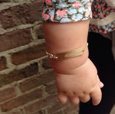 Baby Jewelry Hand Stamped Mom and Daughter Matching Bar Bracelet