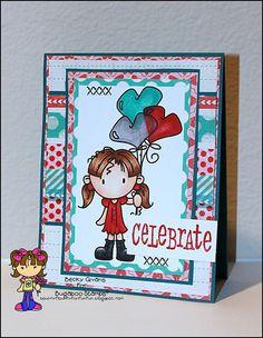Girl birthday card featuring Bugaboo Stamps Kidz Girl-Heart Balloons.