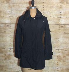 BANANA REPUBLIC Women XS Black Jacket Lined Waterresistent Removable Hood Pocket  | eBay