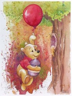 """Red Balloon"" by Michelle St. Laurent - Original Watercolor on Paper, 24x18.  #Disney #WinnieThePooh #DisneyFineArt #MichelleStLaurent"