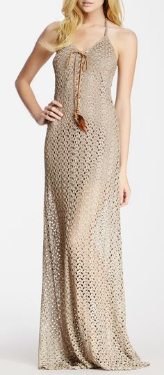 Crochet lace-up halter dress. I would never wear this but it looks pretty!!!
