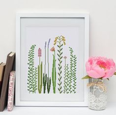 Wildflower Grass cross stitch pattern Modern nature by ThuHaDesign