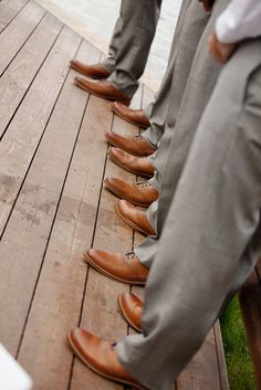 Grey suits with the Cognac-colored shoes | charlie + chris