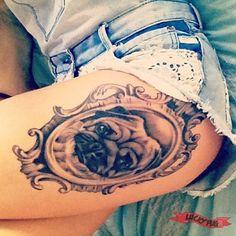 Outer Thigh Pug Tattoo on Sara Williams, by Beaudean Crawford of Native One Tattoo Kirra, Australia - www.luckypug.com