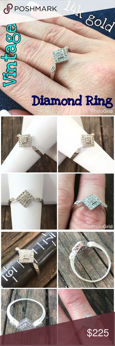 14k White Gold Vintage .25 cttw Diamond Ring Beautiful Vintage 14k White Gold .25 cttw Diamond Cluster Ring. Size 8, sizable. Marked 14k India. 22 total diamond equaling .25 cttw. Weight 2.75 grams. The ring is in great vintage condition, & has pretty infinity detail! Ready to wear & enjoy! Thanks 4 looking! Please ask all ?'s b4 purchase. I ship same day! Buy with confidence 350 5 star feedback. Please make REASONABLE offer using offer feature only. No low ball or trade plz. Thank you! God…