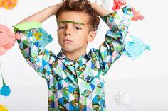 Junge-Mode-Sommer-Kinder-Hemd-geometrische-Motive