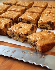 Chocolate chip pecan blondies  We use to bake some like this when I was young.....didn't know what they were called! All I remember is that they were kinda like brownies made with brown sugar...yummy!!!!