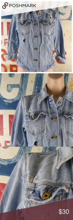 """Vintage Ralph Lauren Polo Distressed Jacket Vintage Ralph Lauren Polo Naturally Distressed Denim Jean Jacket Size Large Cotton No stains 19.5"""" side to side at the under arm 20"""" L Polo by Ralph Lauren Jackets & Coats Jean Jackets"""
