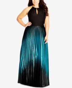 Perfect for prom or party, the ombre style of City Chic's satin gown keeps you dressed to impress! | Polyester; lining: polyester | Dry clean | Imported | Hardware halter neckline with keyhole cutout