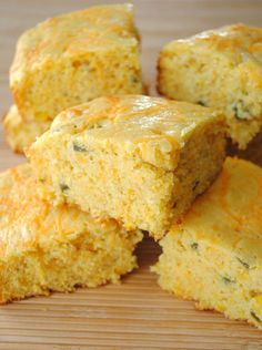 Cheddar-Jalapeno Cornbread - probably used a few too many jalapenos but other than that it was a great recipe.  I am going to be making it again this weekend but without the peppers (the other person eating it can't eat spicy food right now).  -AG