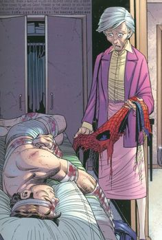 Aunt May discovering her nephew Peter is Spider-Man. Panel from Amazing Spider-Man vol2#34(2001)by John Romita jr. I loved the fact this advanced the relationship between Peter Parker and his Aunt May by leaps and bounds.