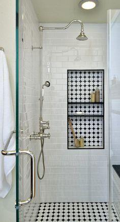 re: niche in vintage-inspired master bathroom [ Interior Designer: Carla Aston / Photographer: Miro Dvorscak / mosaic tile, shampoo niche, black marble ] Bad Inspiration, Bathroom Inspiration, Bathroom Renos, Master Bathroom, Bathroom Vanities, Bathroom Wall, Master Baths, Gold Bathroom, Modern Bathroom