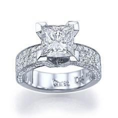"Princess Cut Engagement Rings | ... Snow Fountain Princess"" Dazzling Pave Set Princess Cut Engagement Ring"