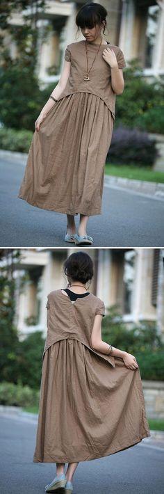 Tan colour long linen sundress(more colour and size choice) Fashion Mode, Hijab Fashion, Boho Fashion, Womens Fashion, Fashion Design, Sewing Blouses, Moda Casual, Yohji Yamamoto, Blouse Vintage