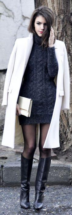 #winter #fashion / black knit dress + coat