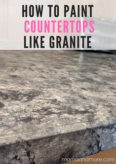 How to Paint Your Countertops Like Granite • Mama and More Painted Granite Countertops, Painting Laminate Countertops, Granite Paint, Marble Countertops, Countertop Redo, White Granite, Paint Formica, Spray Paint Countertops, Laminate Cabinets