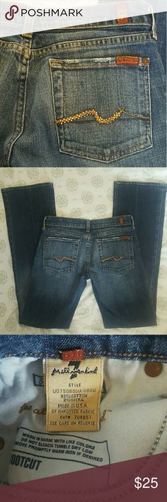 """7FAMK Embellished pocket denim. Gorgeous denim. Excellent used condition. Never dried. Fabric is not worn down. Beautiful embellishments on pockets, not missing any pieces. 32"""" inseam. 7 For All Mankind Jeans Boot Cut"""