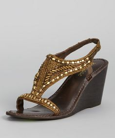 Another great find on #zulily! Bronze Beaded Orleans Wedge Sandal by Matisse #zulilyfinds