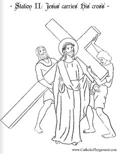 coloring page for the second station of the cross jesus carries the cross