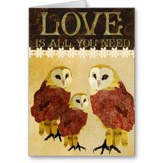 Ruby & Gold Owls  Love Is All You Need Card #ARTSPROJEKT