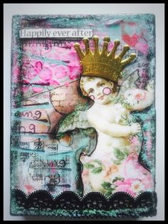 Chunky ATC block  Created for Retro Cafe Art Gallery  Supplies used are:  -chunky dimensional ATC  -Tim Holtz rub-on numbers  -Dresdon large gold crown  -Dresdon black fancy trim  -heart washi-tape  -Valentine Rhapsody collage sheet SC95