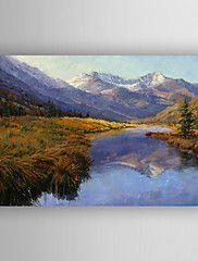 peinture à l'huile impression paysage et le lac... – CAD $ 107.02